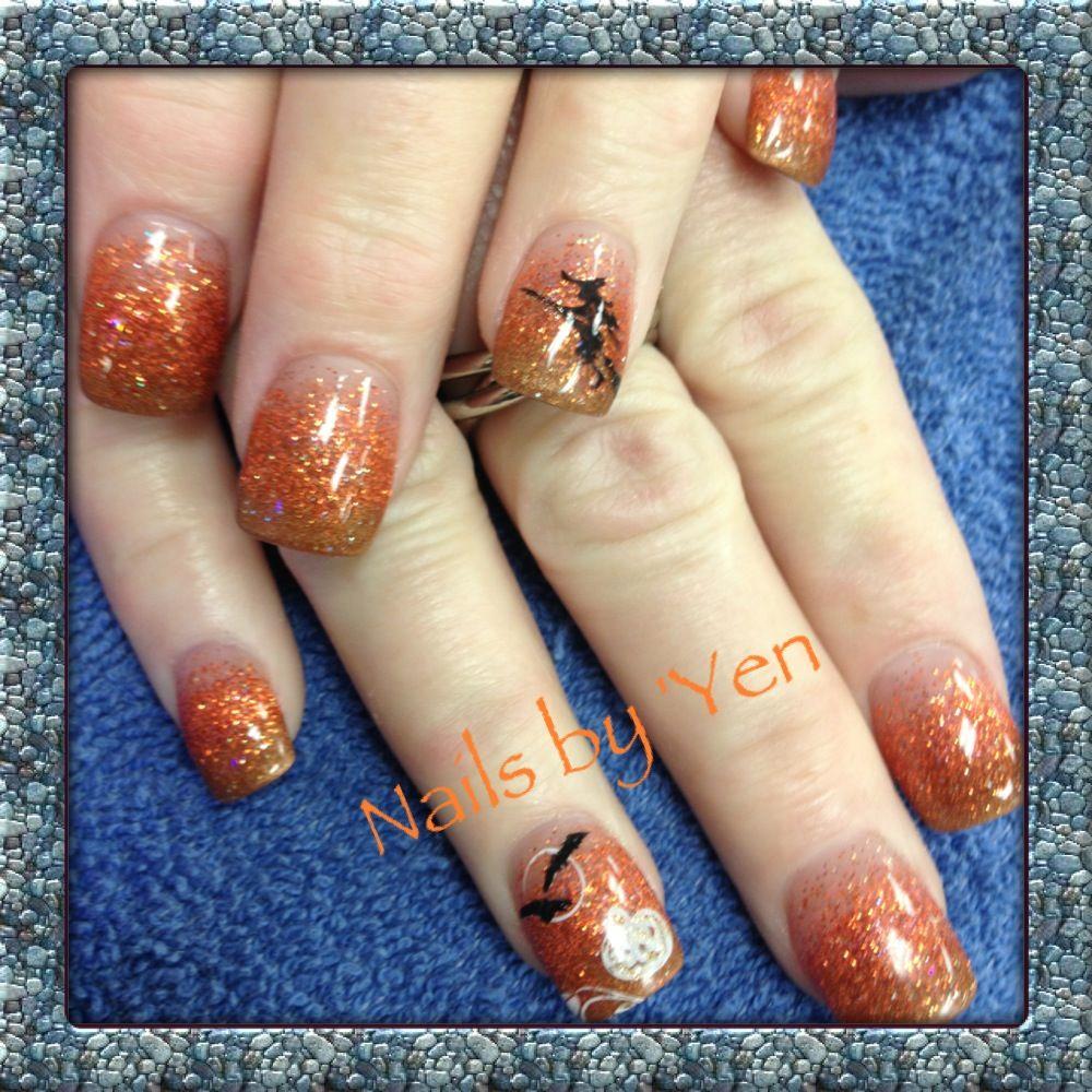 Golden Orange Fade With Halloween Witch Nail Art Bats And Pumpkin