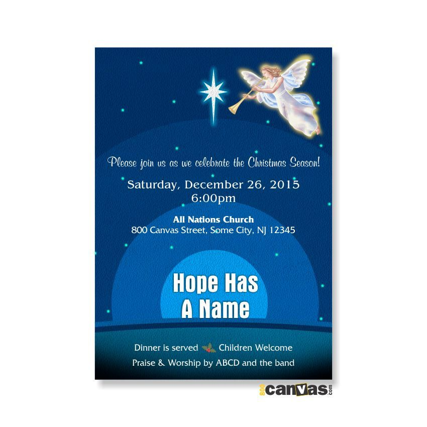 christmas angel invitation religious party church invites star