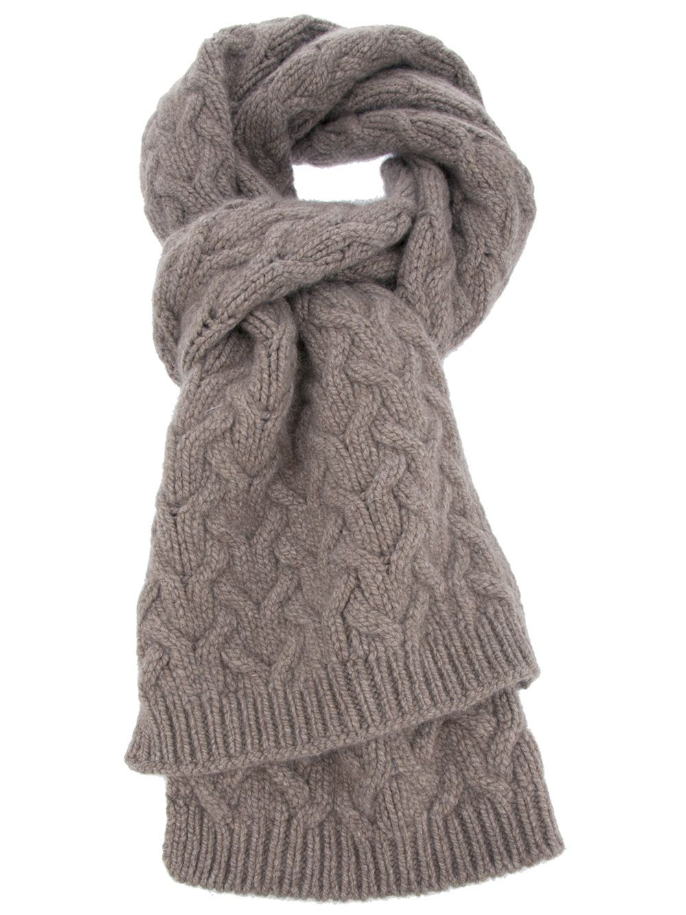 54ece6aa67 -Brown cashmere scarf from Neri Firenze featuring a chunky cable knit and a  ribbed edge. €690.00