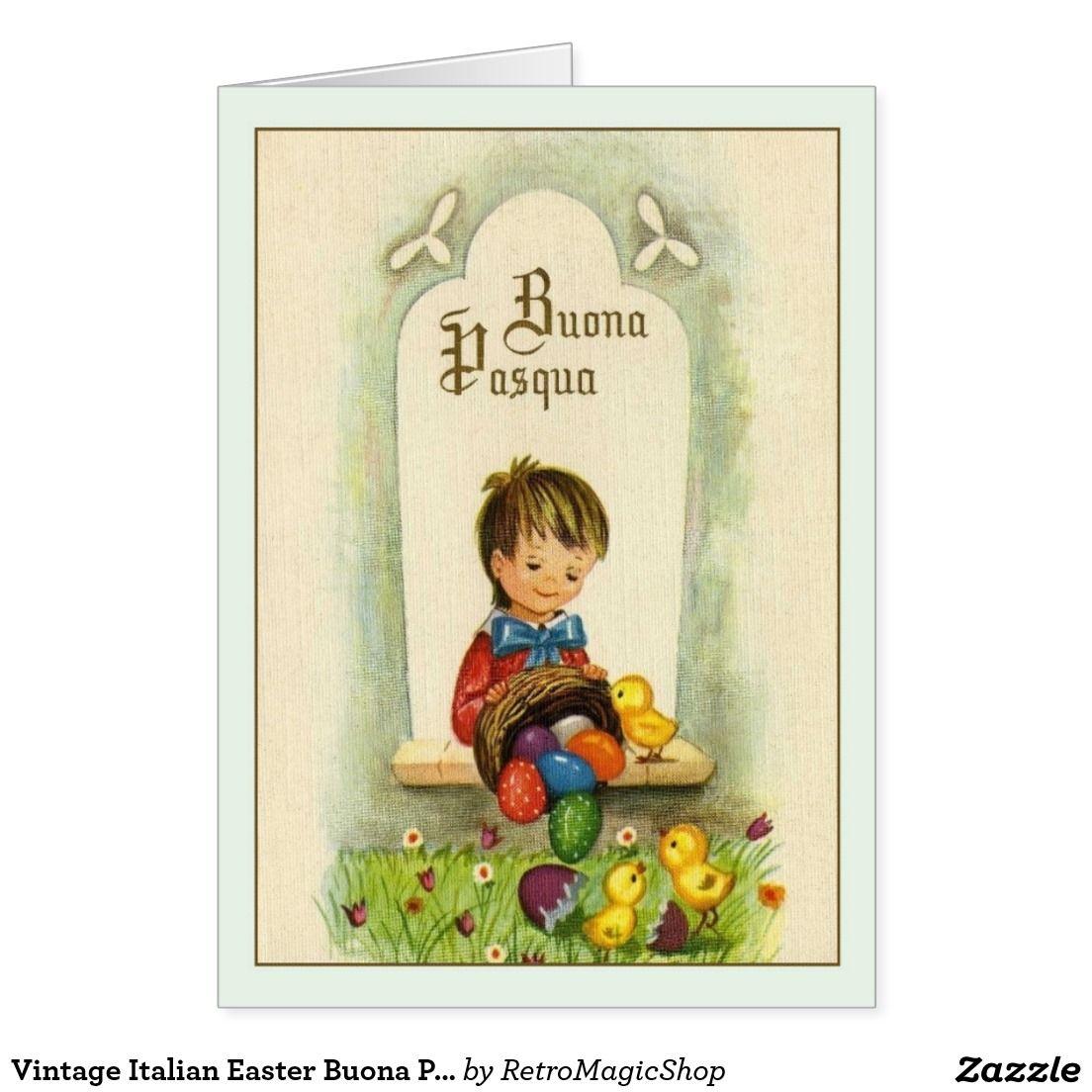 Vintage Italian Easter Buona Pasqua Greeting Card Vintage