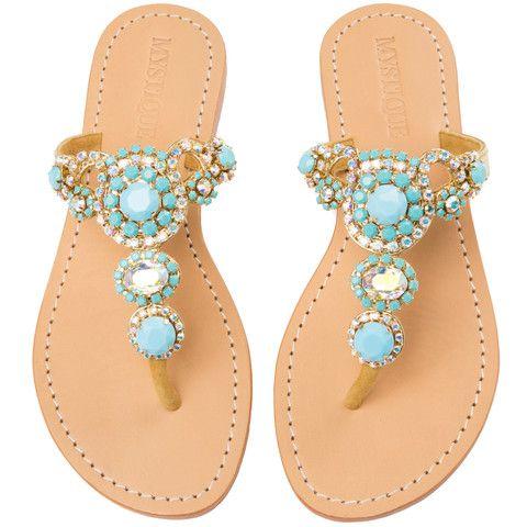 Stockholm Women's Leather Jeweled Sandals Mystique
