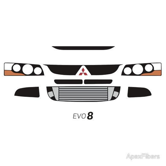 'Evo 8 simple front end design' T-Shirt by ApexFibers