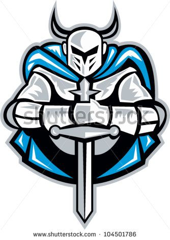 Illustration of a knight with sword facing front done in retro woodcut style. - stock vector #knight #woodcut #illustration