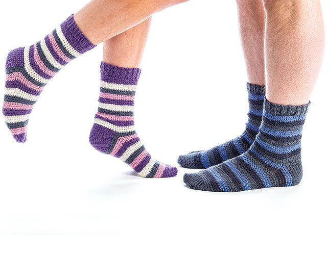 Simple Striped Socks for the Family featured in Learn to Crochet ...