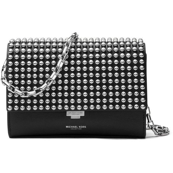 e78af156c130 Michael Kors Yasmeen Small Studded Clutch Bag ($690) ❤ liked on Polyvore  featuring bags, handbags, clutches, black palladium, flap purse, michael  kors ...