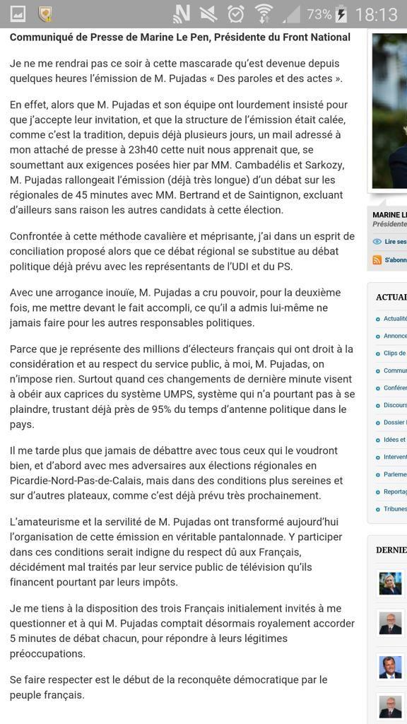 Communiqué @MLP_officiel  Monsieur Pujadas, on ne m'impose rien  #DPDA  http://www.frontnational.com/2015/10/monsieur-pujadas-on-ne-mimpose-rien/#.VikLIyy55NU.twitter…