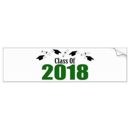 Class of 2018 caps and diplomas green bumper sticker graduation stickers grad sticker