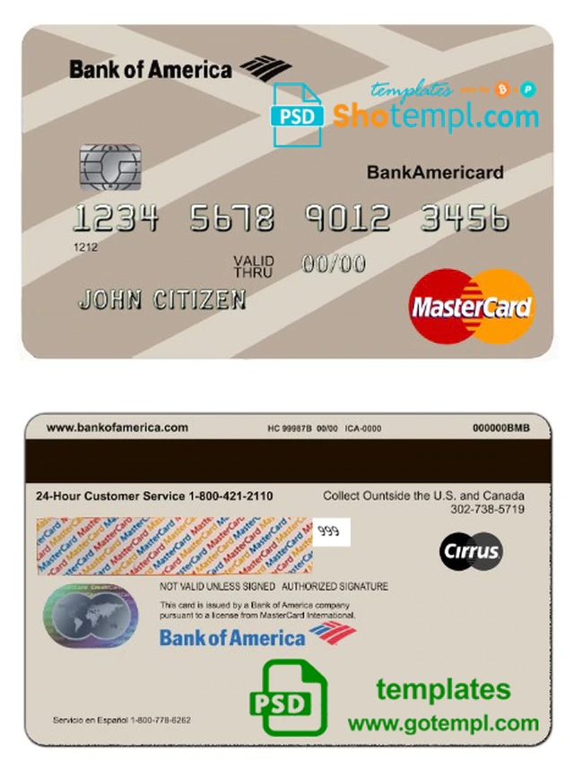Usa Bank Of America Bank Mastercard Template In Psd Format Fully Editable Templates Bank Of America Visa Card Numbers