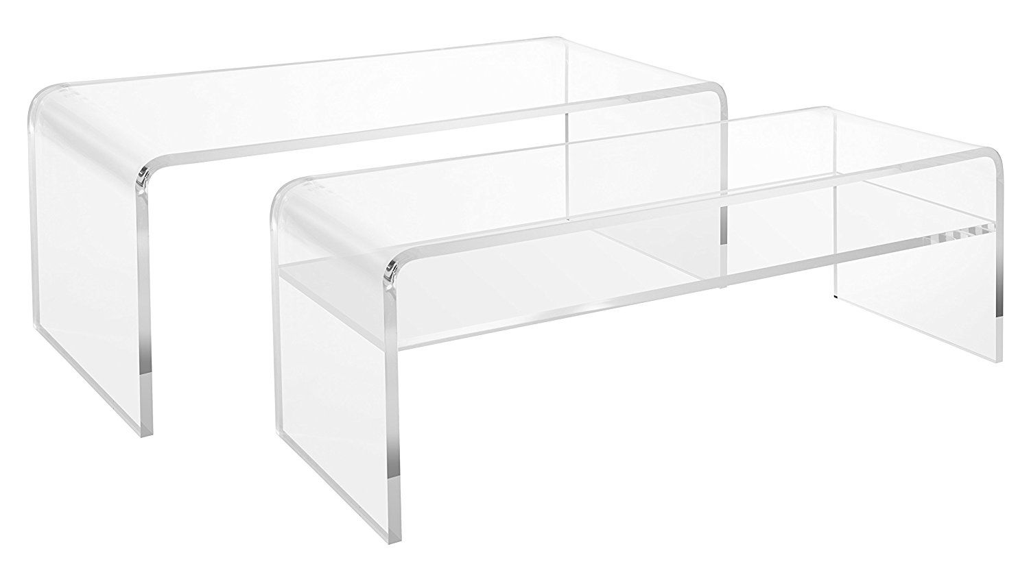 Clear Acrylic Coffee Tables With Shelf And Without Shelf 44 L