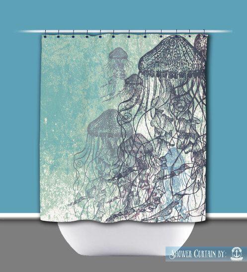 Jellyfish Shower Curtain Stall Shower 54 X 78 Nautical Sea Life
