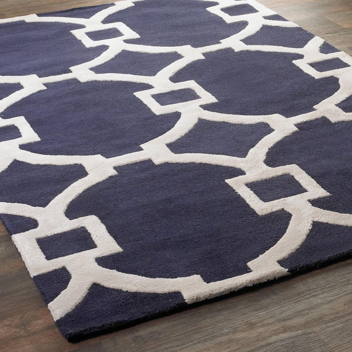 Contemporary Fretwork Plush Wool Rug