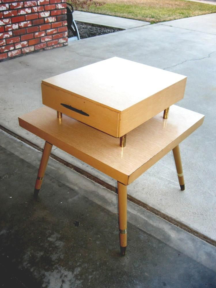 Vintage Eames Mid Century Retro Atomic 2 Tier Side End Table Blonde Formica Vintage Eames Retro Furniture Blond Furniture