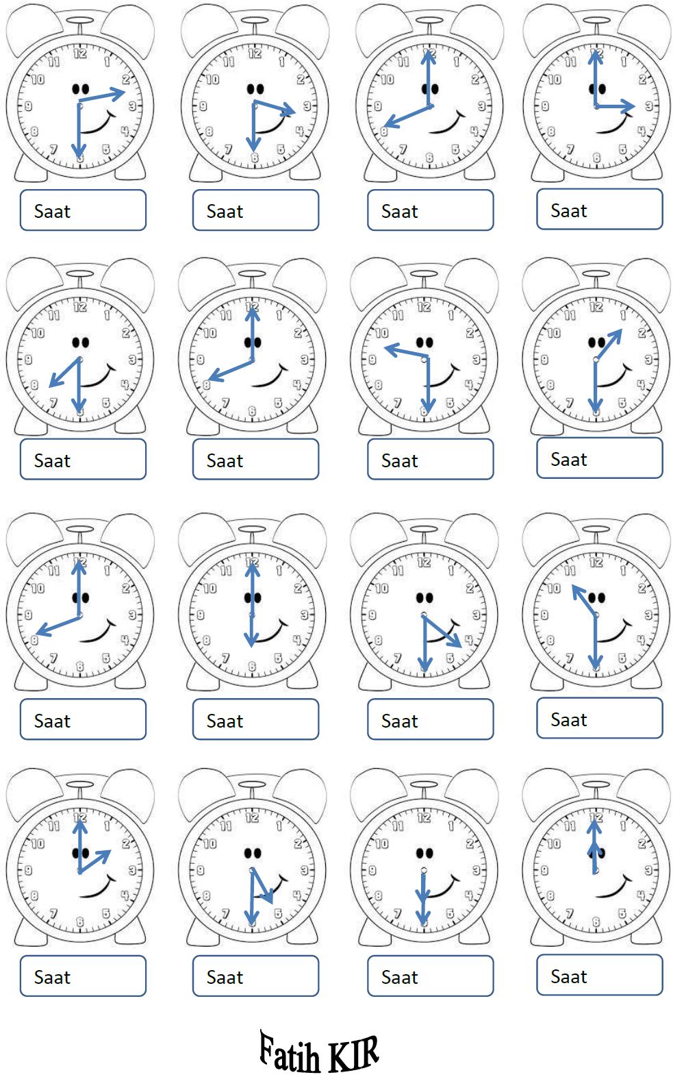 2 Sınıf Matematik Tam Ve Yarım Saatler Okuma çalışması Etkinliği