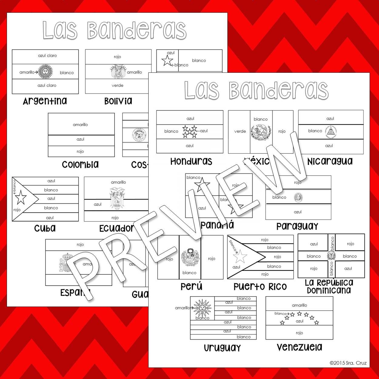 Flags Of Spanish Speaking Countries Coloring Pages