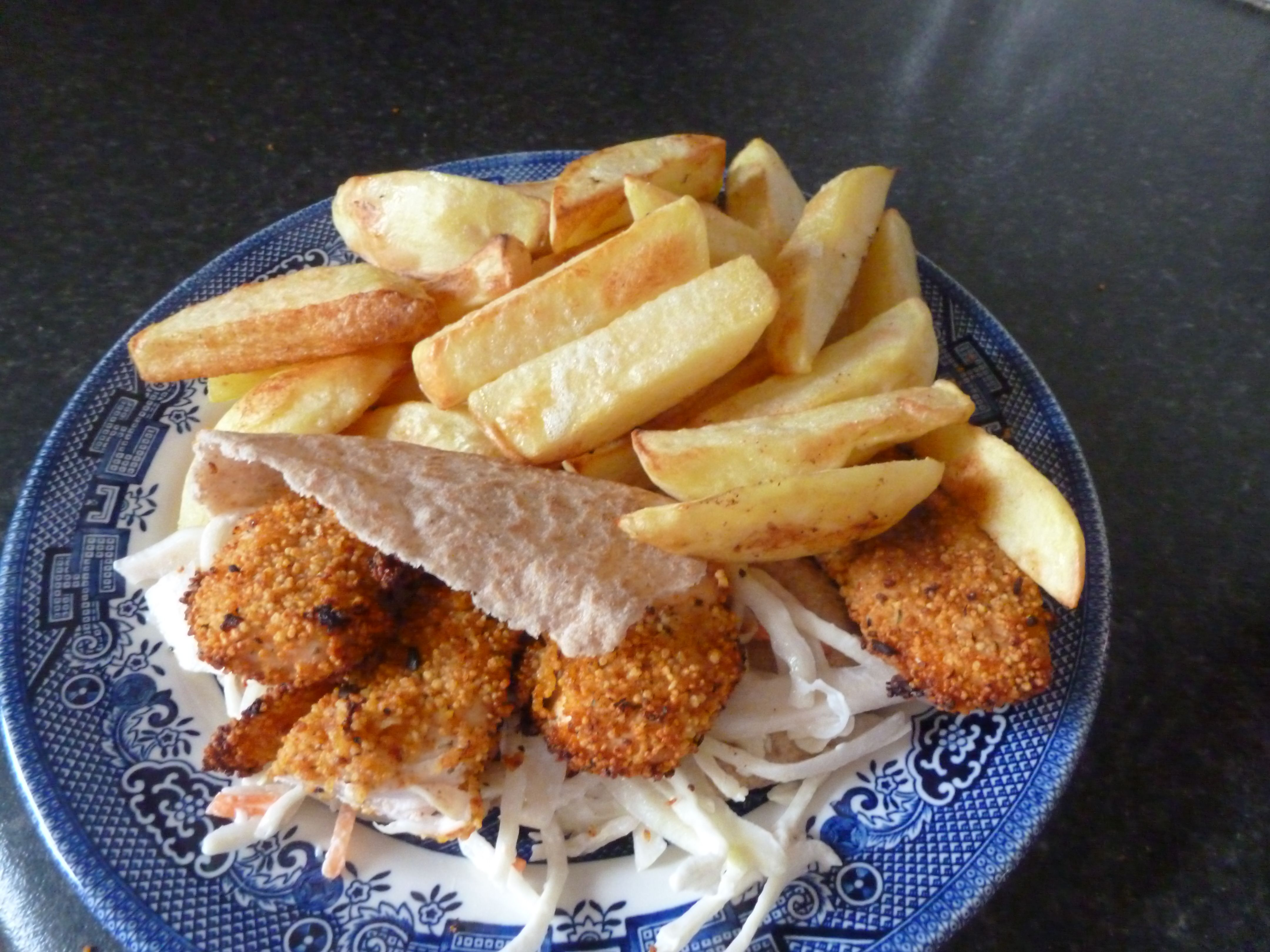 chicken kebab and chips 6 syns total if not using the pitta bread