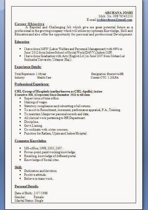 Download Resume Format Sample Template Example Ofexcellent