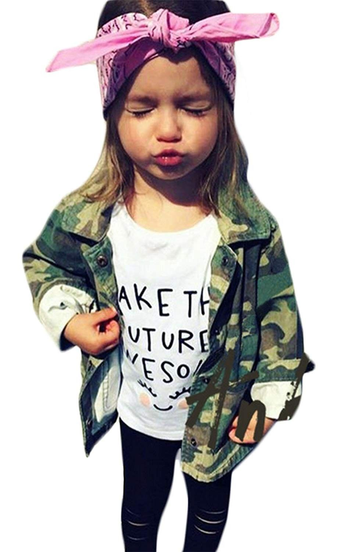 Kids Baby Girls Camouflage Letters Print Coat Casual Denim Windbreaker Jackets