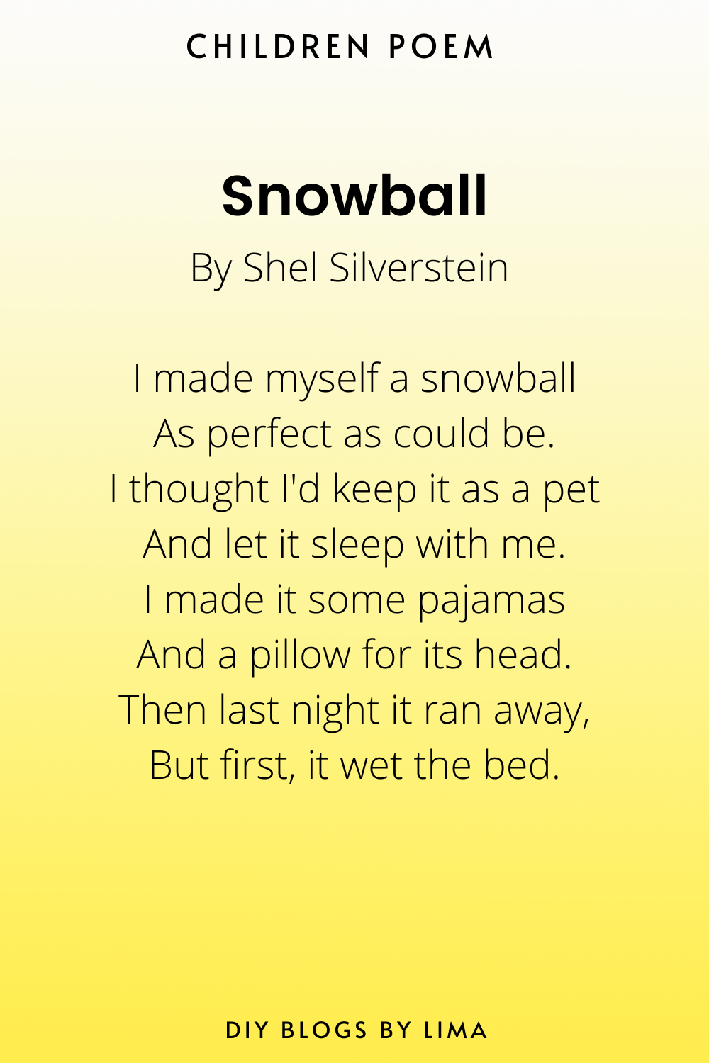 Snowball  Classical Poems for Children