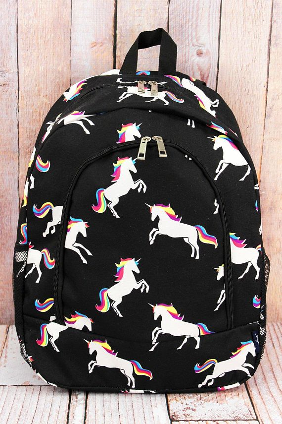 Monogrammed Unicorn Backpack School Embroidered
