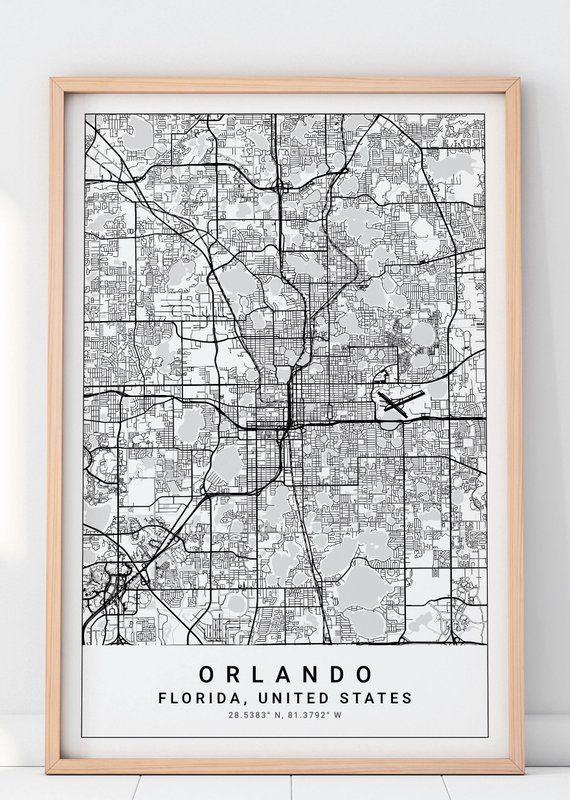 Orlando Florida On Us Map.Orlando Map Print Orlando Florida Map Florida Map Orlando Art
