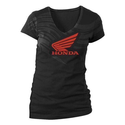 honda racing logo t-shirt WOMEN white clothes for damen girls V-neck neckline