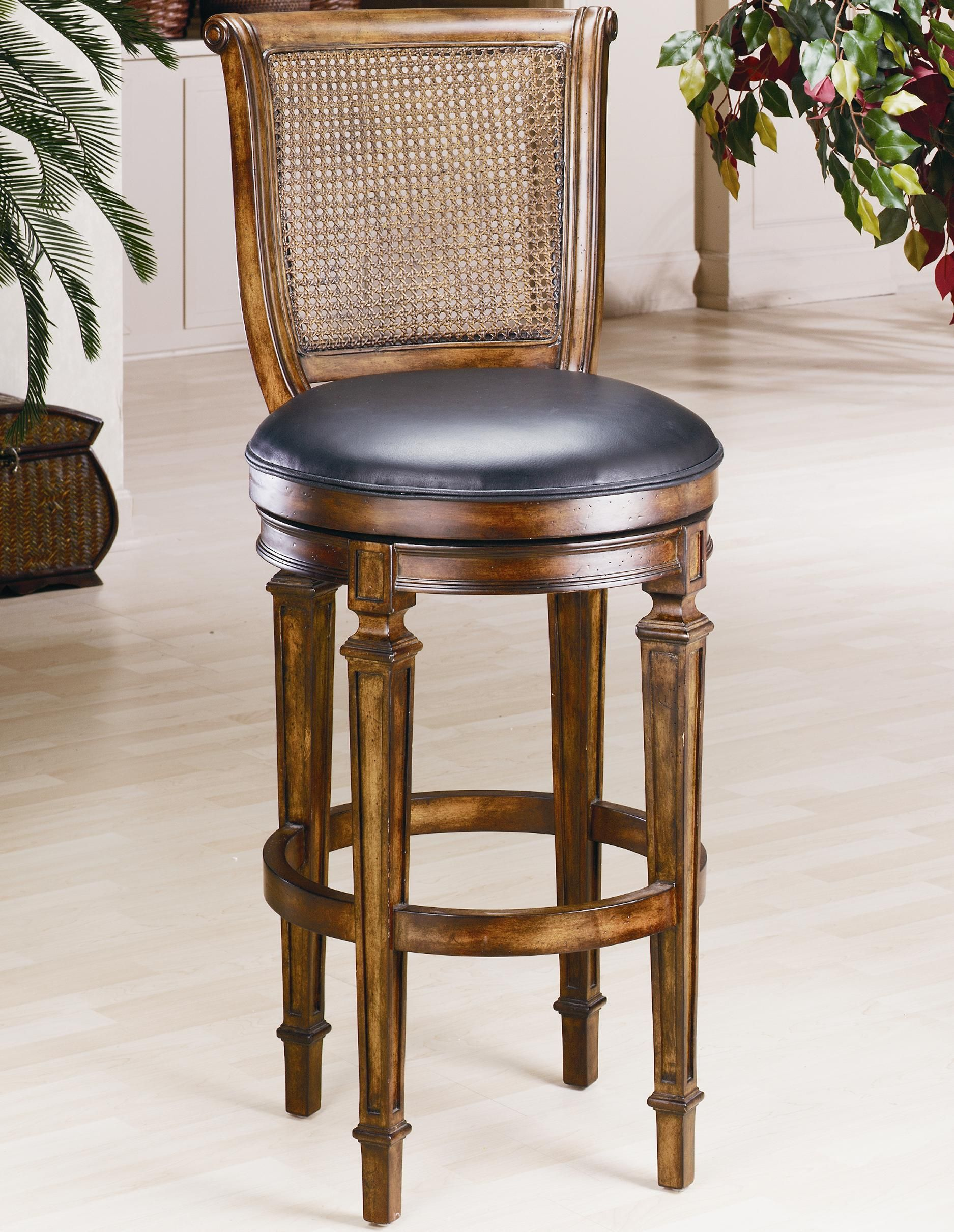 Bar Stool With Cane Back And Leather Seat Swivel Bar Stools