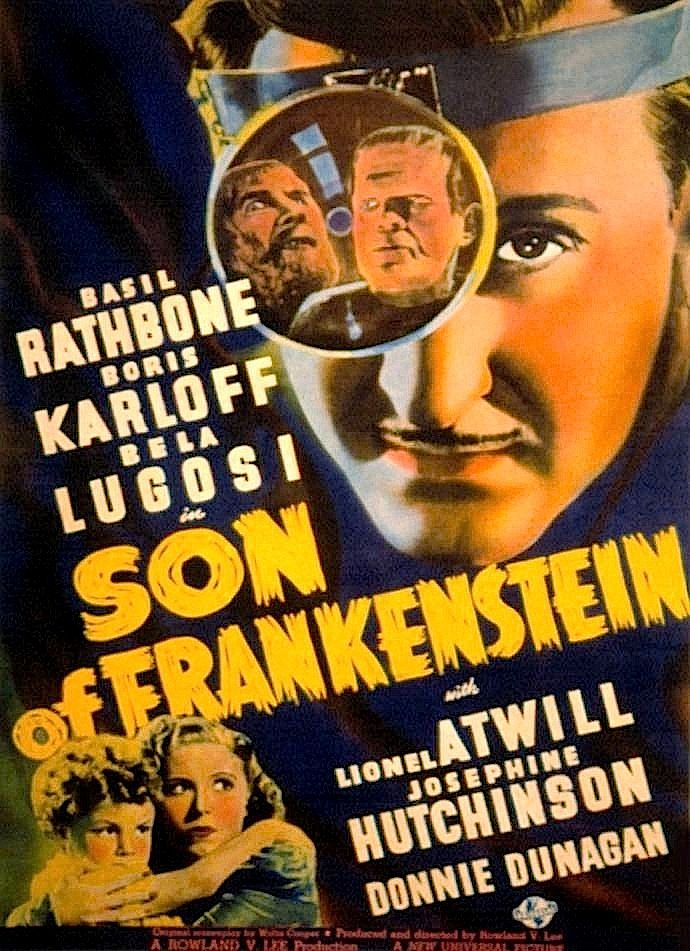 Basil Rathbone is highlighted in this poster from The Son of Frankenstein (1939).