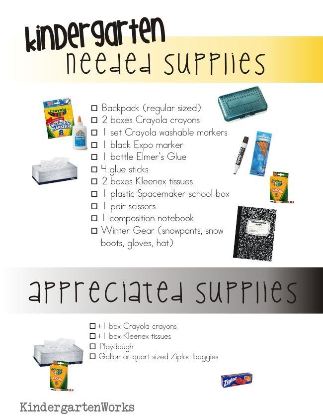 Kindergarten School Supply List Kindergarten School Supply List Kindergarten School Supplies School Supplies List Elementary