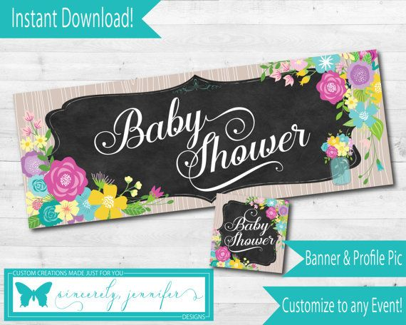 Facebook Event Banner Profile Pic Instant Download Baby Shower Chalkboard Mason Jar Flowers 122fb1 Bo Event Banner Facebook Event Bridal Shower Banner