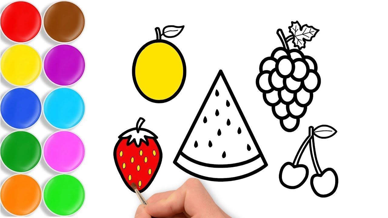 How To Draw Fruits For Kids With Watermelon Grape Strawberry By Toy Ar Fruits Drawing Fruits For Kids Drawings