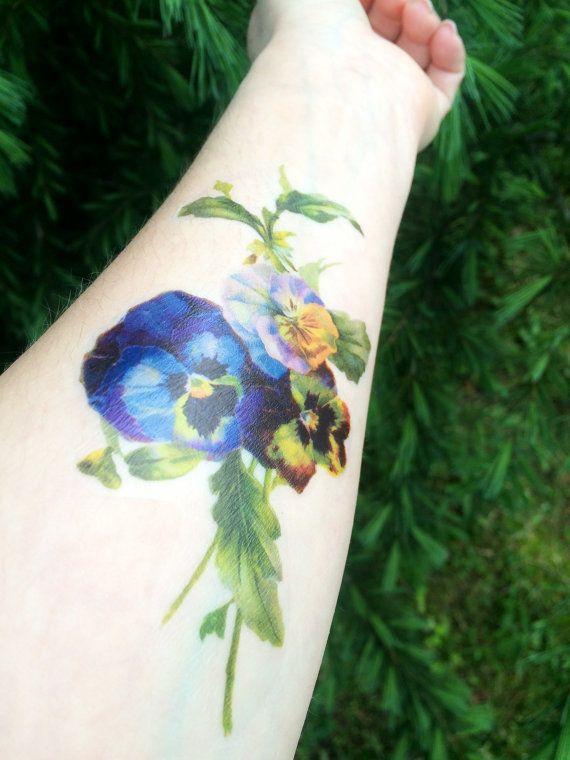 Floral Temporary Tattoo Purple Flower Vintage Flower Tattoo