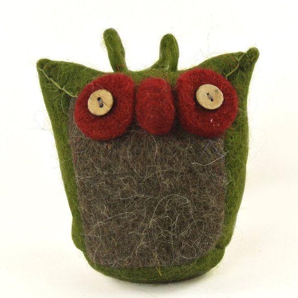 Handmade Needle Felted Green Big Eye Owl Wool Felt Miniature Christmas Tree Decoration Gift