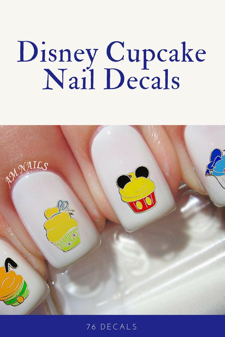 Disney Characters get turned into cupcakes on these cute nail decals ...