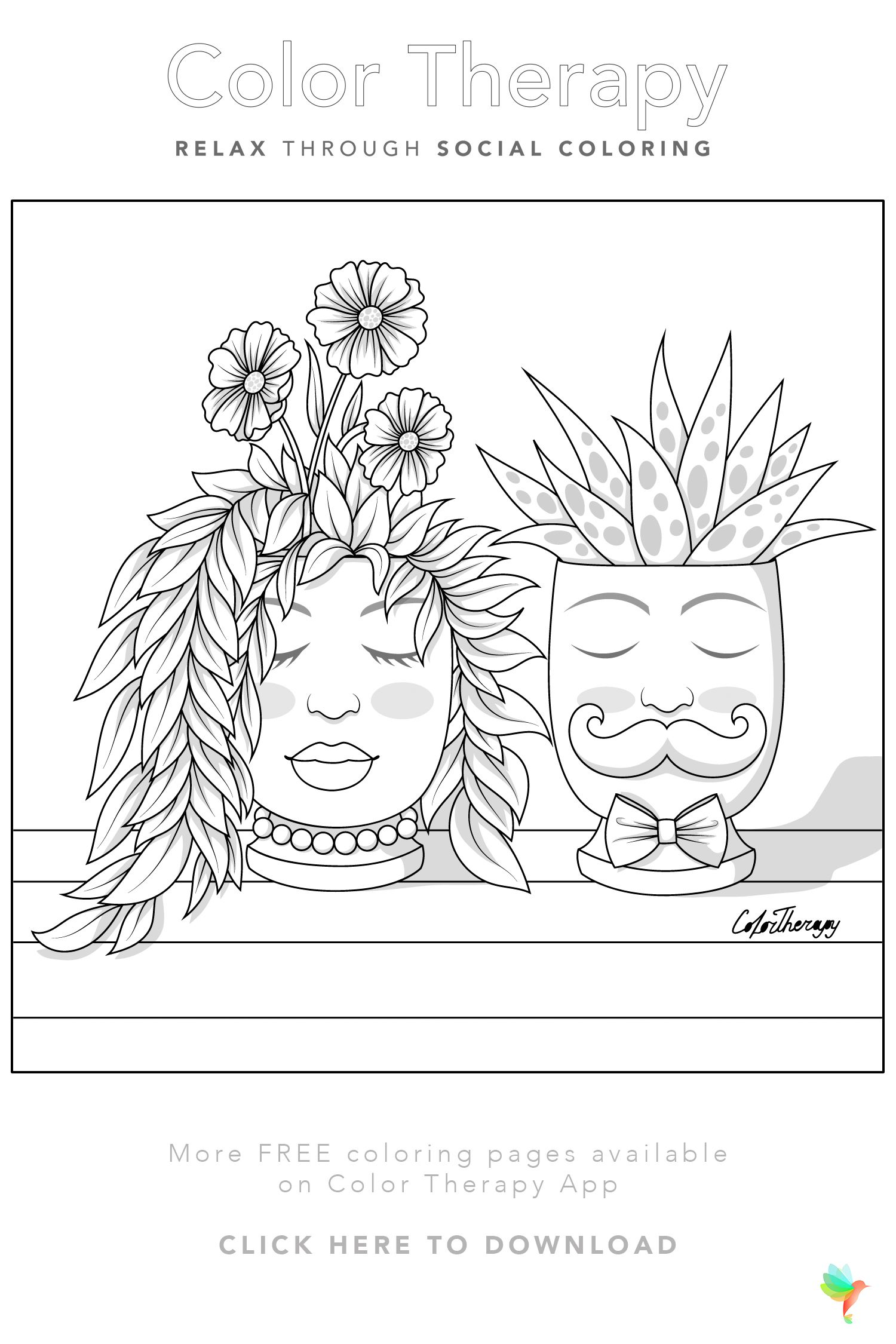 Color Therapy Gift Of The Day Free Coloring Template Love Coloring Pages Coloring Books Coloring Pages