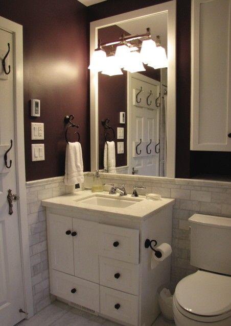 Magnificent Bathroom Idea White Vanity Trim And Wall Tiles Darker Home Interior And Landscaping Mentranervesignezvosmurscom