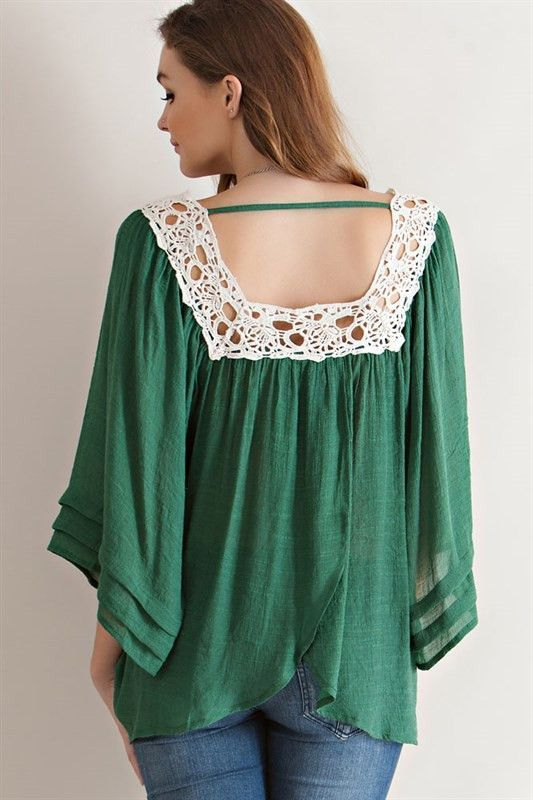 Crochet Neck Peasant Blouse - Green | Moda | Pinterest