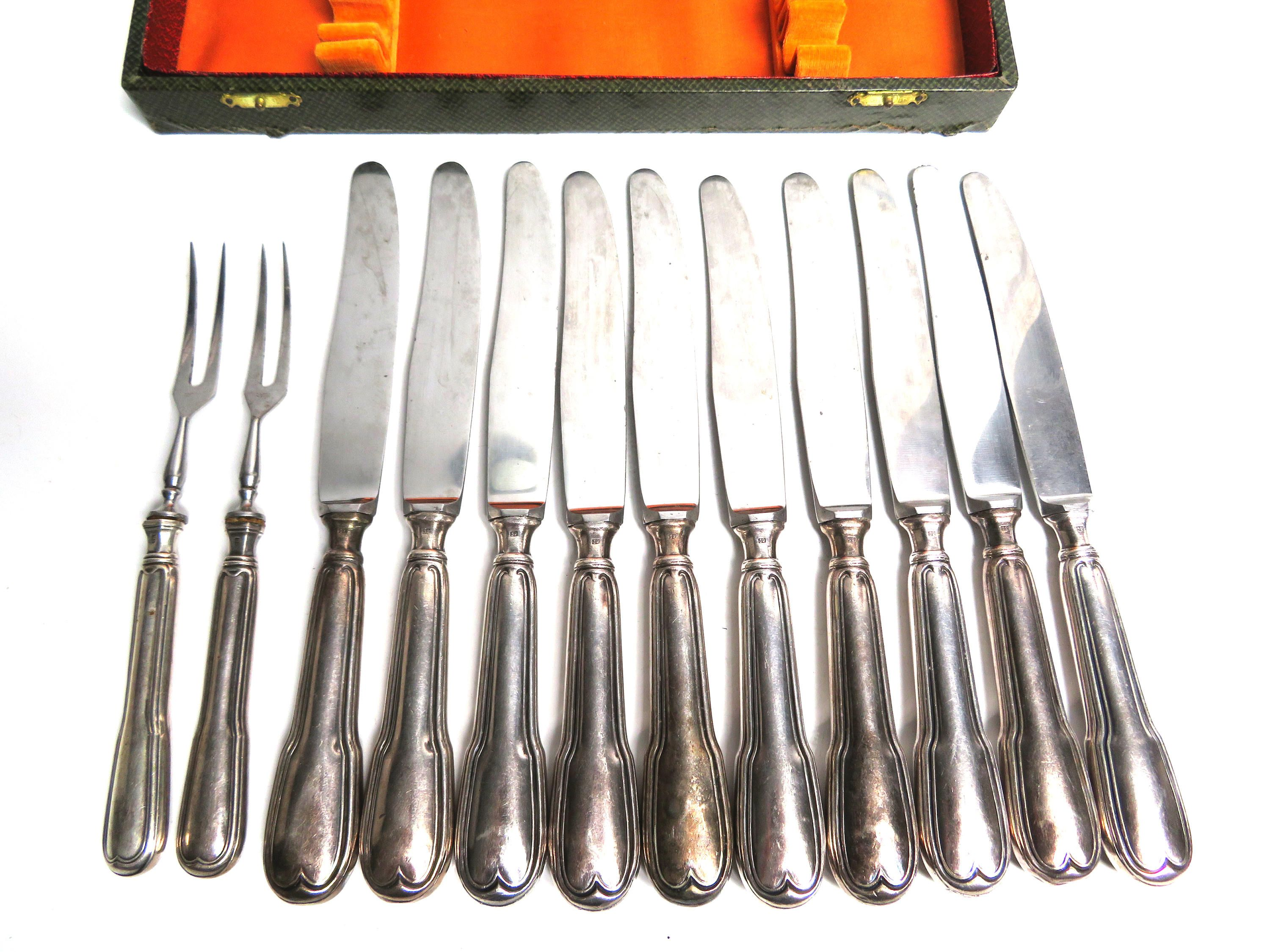 10 Silver Plate Dinner Knife Inox Blade 2 Rostfrei Germany Forks