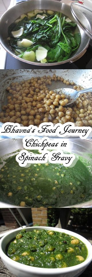Photo of Chole/Cheakpeas in Spinach Gravy –  VEGAN-GF Chole/Cheakpeas in Spinach Gravy. T…