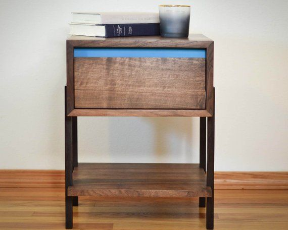 Walnut Side Table Night Stand Aqua Dovetailed Drawers Modern End Table Non Toxic Minimal Waterfall Table Solid Hardwood Modern End Tables End Tables Nightstand