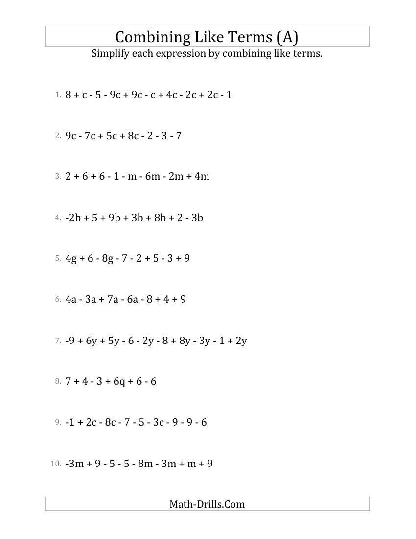 Equivalent Expressions Worksheet 6th Grade New 2015 03 05 Simplifying  Linear Expressions with 6 …   Algebraic expressions [ 1100 x 850 Pixel ]