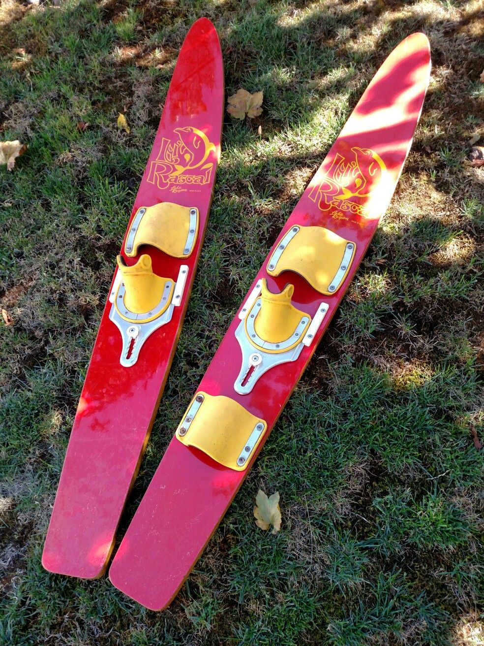 Rascal, vintage, water-ski for interior or exterior decor. Beautiful color and great display. Expected wear, intact.