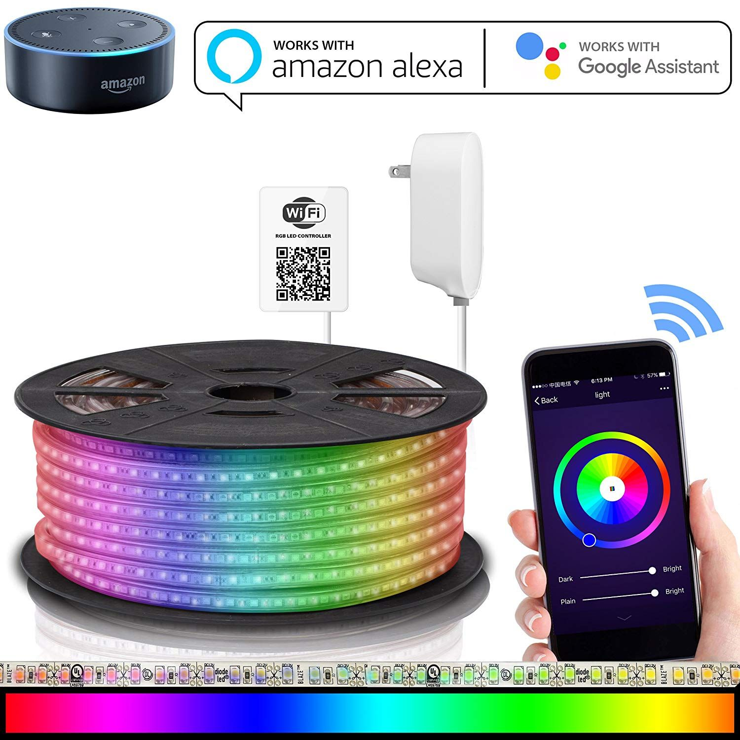 Amazonsmile Led Strip Lights Compatible With Alexa Maxonar Wifi Led Light Strip Kit With Rgb Multicolor Wa Led Strip Lighting Strip Lighting Led Light Strips