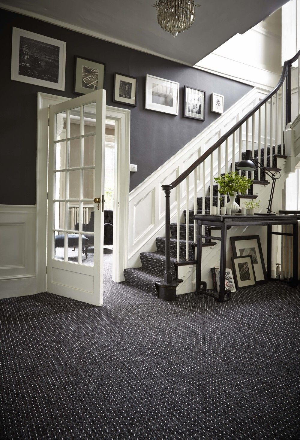 Decorating grey french style foyer with white wooden dado for Foyer paint color decorating ideas