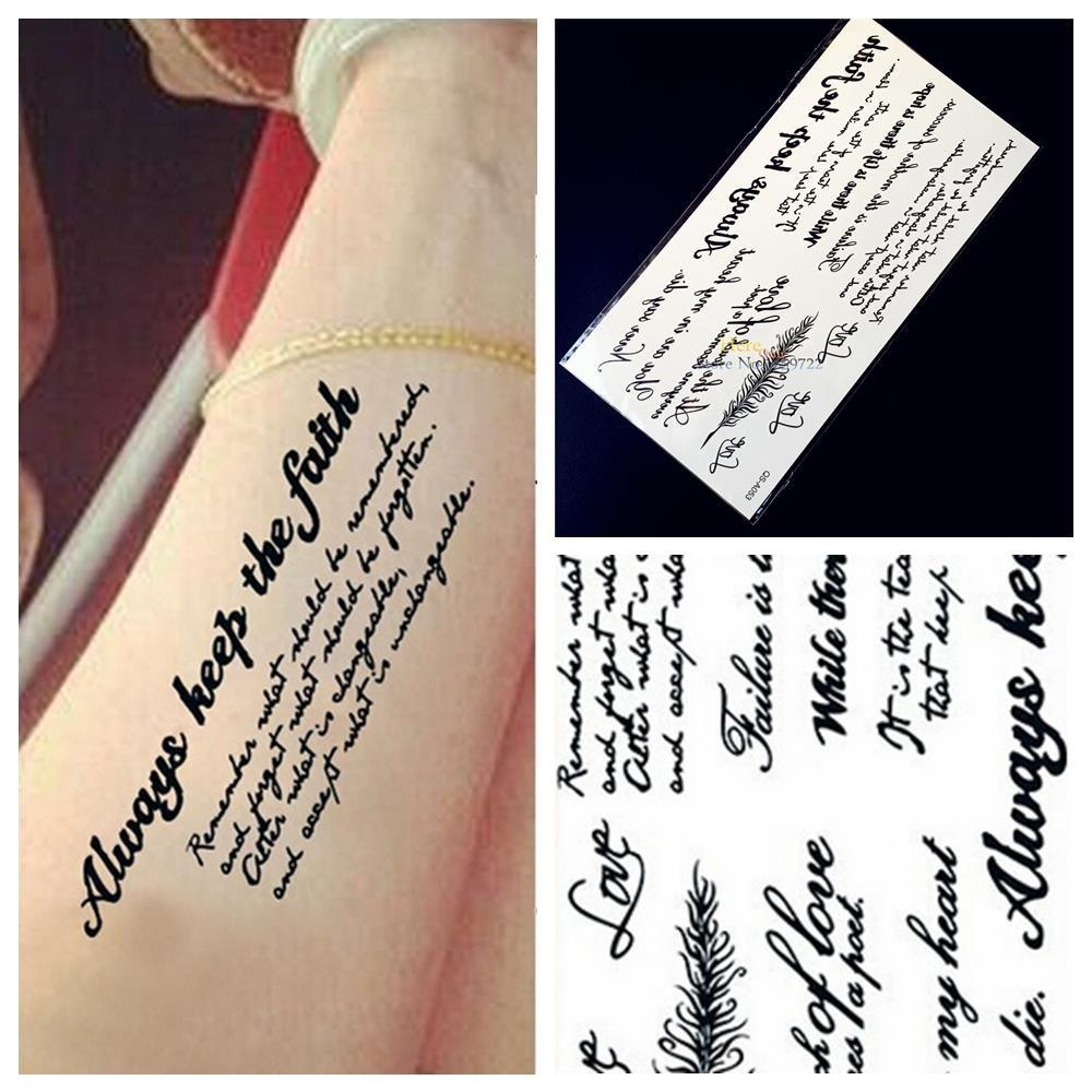 1 STÜCK Indische Körper Arm Schwarze Feder Worte Temporäre Tattoo ...