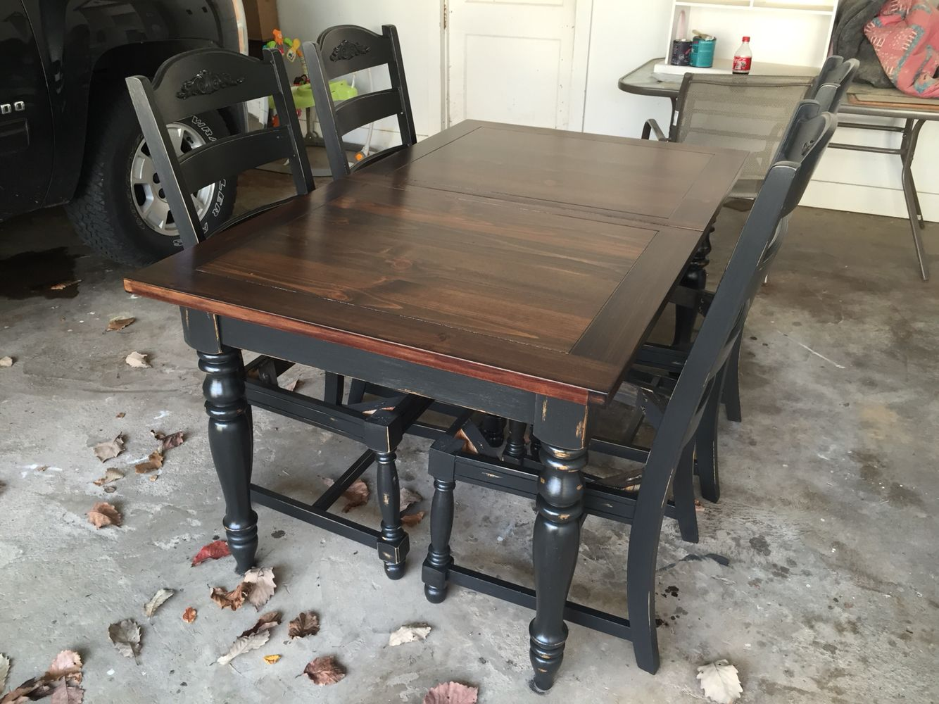 Refinished Oak Table Base And Chairs Chalk Painted Black Velvet And Sealed With Polycrylic Coats Top Stained In Dark Walnut