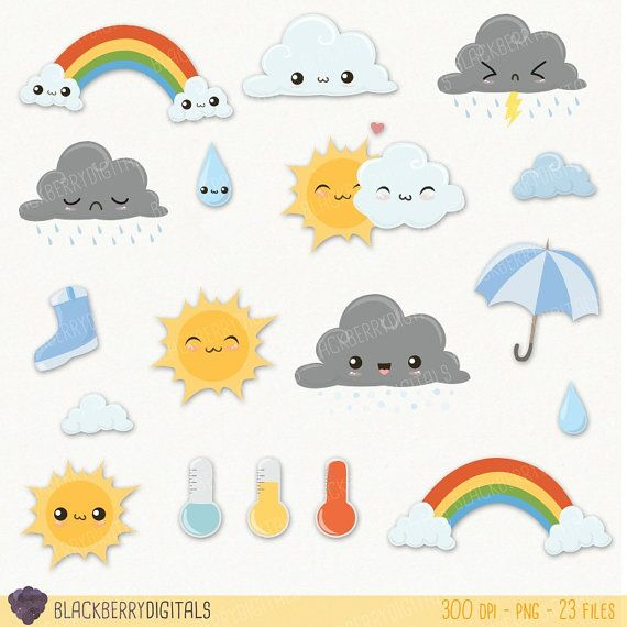 Weather Clipart Set Cute Weather Clip Art Kawaii Weather Etsy Cute Clipart Weather Clipart Kawaii Weather