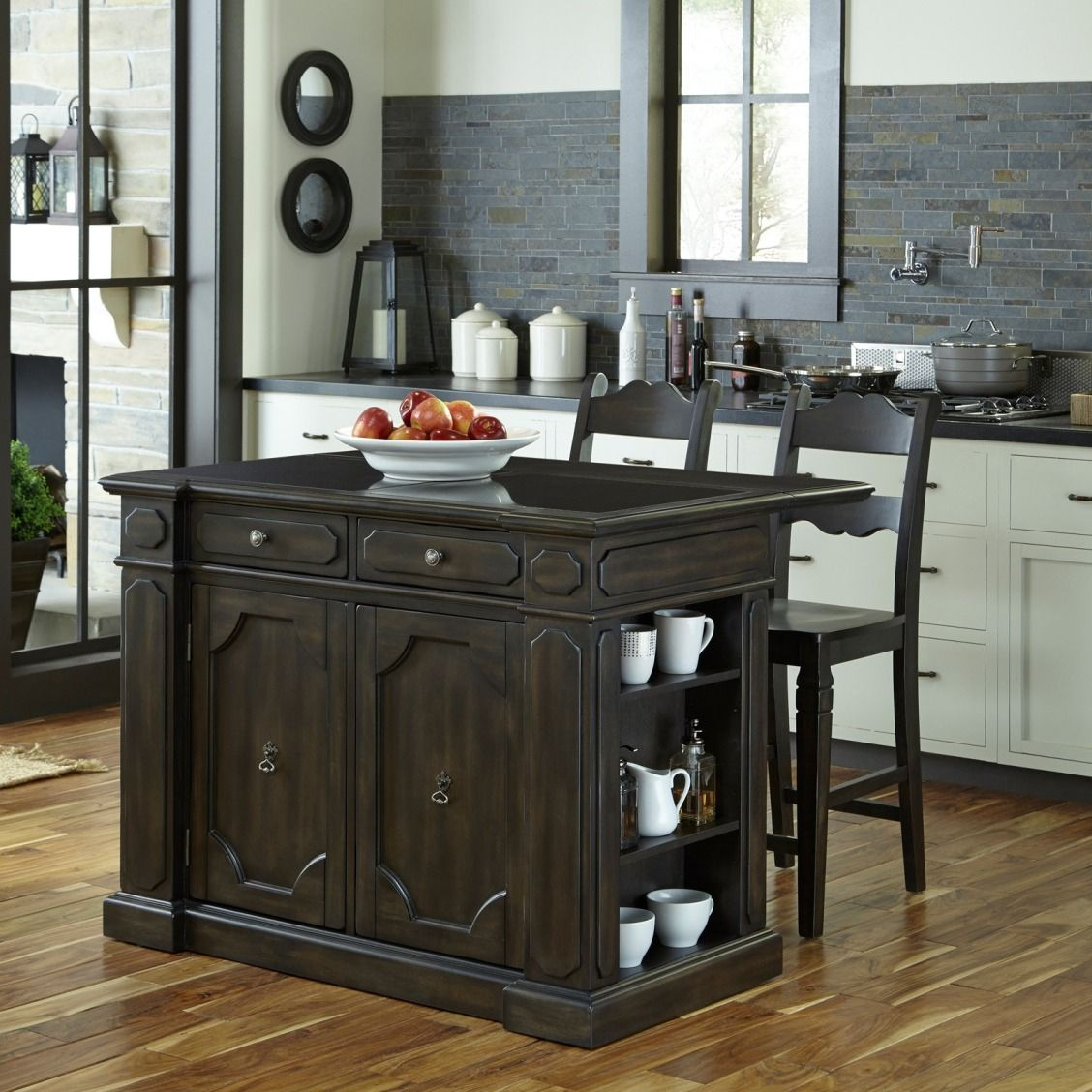 Home Styles Hacienda Granite Top Kitchen Island With 2 Stools