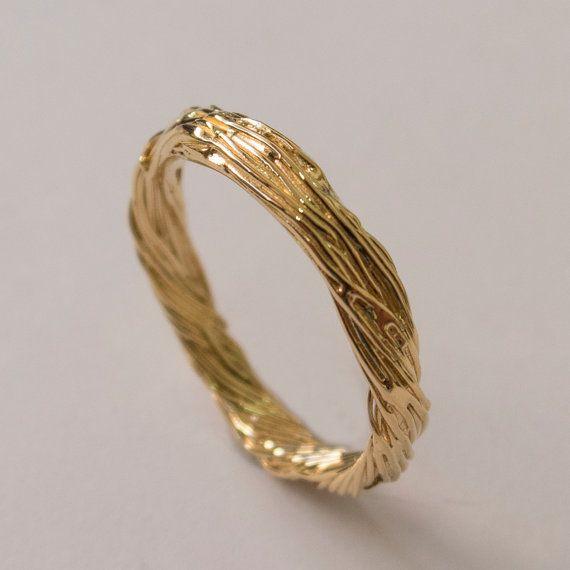 Twig Ring 14K Gold Ring wedding ring wedding band leaf ring