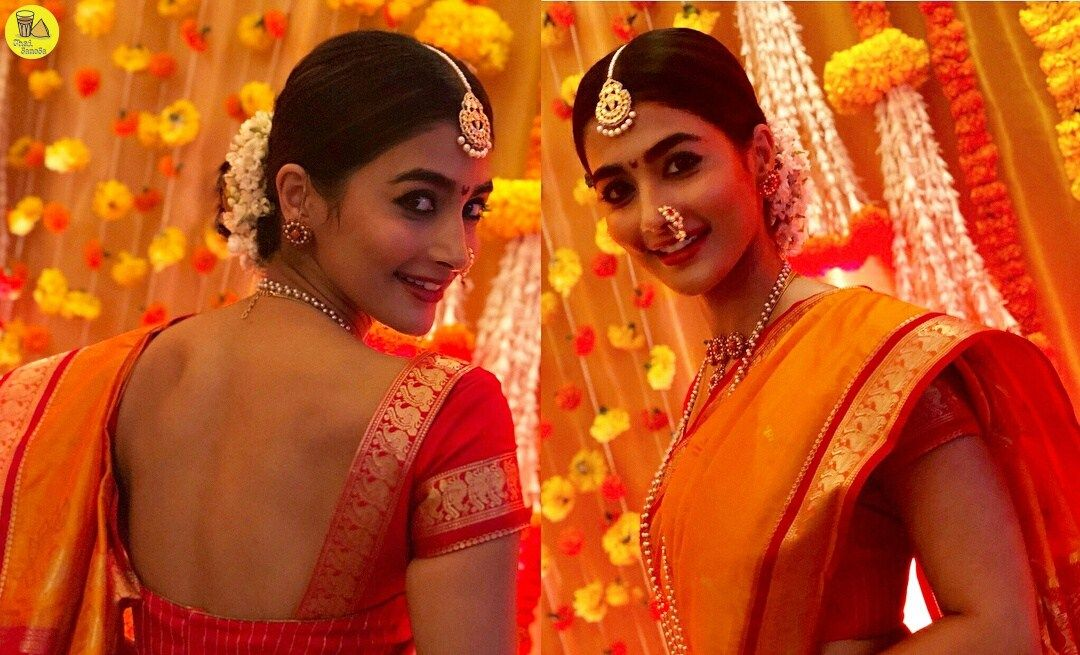 Actress Pooja Hegde Traditional Look Stills (With images