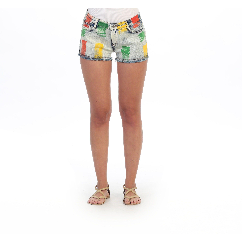 Hadari Women's Denim Colorsplash Washout Shorts